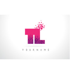 Tl t l letter logo with pink purple color and vector