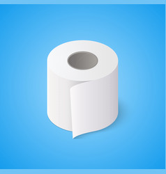Toilet paper roll on blue background isometric vector