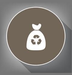 trash bag icon white icon on brown circle vector image