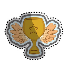 Trophy winner with wings isolated icon vector