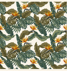 Tropical seamless pattern plants and flowers vector