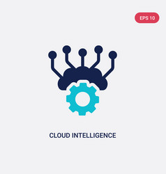 Two color cloud intelligence icon from artificial vector