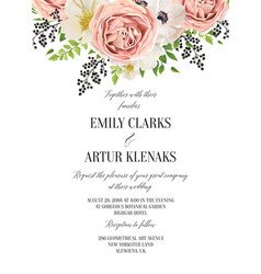 Wedding floral watercolor invitation save the vector