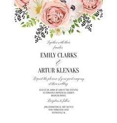 Wedding floral watercolor invitation save vector