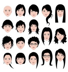 Woman female face hair hairstyle a set of vector