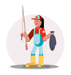 Woman standing with fishing rod vector