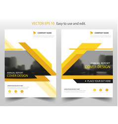 Yellow black annual report brochure flyer design vector