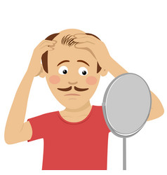 young man worried about hair loss vector image