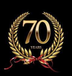 70 years anniversary laurel wreath vector