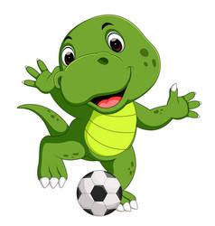 cute crocodile playing football vector image vector image