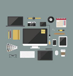 Graphic designer items and toolsflat design style vector