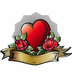 heart and roses color tattoo vector image vector image