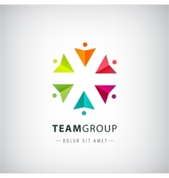 Teamwork logo social net people together vector