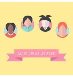 women avatar set with pink ribbon vector image