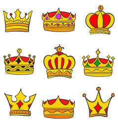 collection stock style elegant crown set vector image