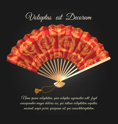 rose flowers chinese folding fan poster vector image
