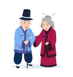 senior asian couple wearing traditional costumes vector image