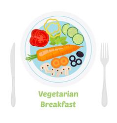 vegetarian breakfast ingredients in flat style vector image