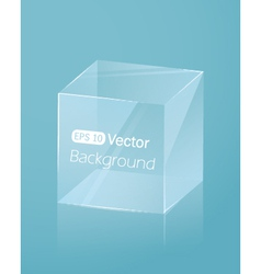 Abstract light blue background with glass cube vector image vector image
