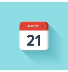 August 21 Isometric Calendar Icon With Shadow vector image