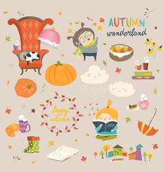 cartoon autumn set vector image vector image