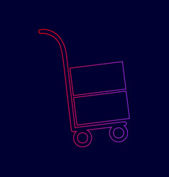 hand truck sign line icon with gradient vector image
