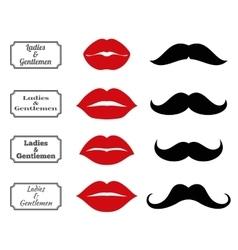 Ladies and gentlemen bathroom symbols lips vector image vector image