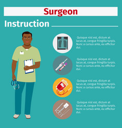 medical equipment instruction for surgeon vector image vector image