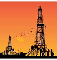Oil rig silhouettes vector image vector image