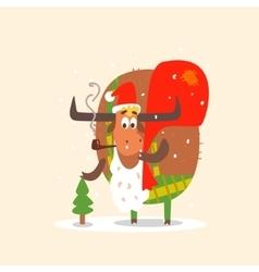 Santa Bull with Beard vector image vector image