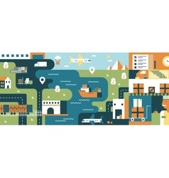 Transportation logistic background flat vector image