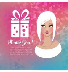 Young woman with a gift vector image
