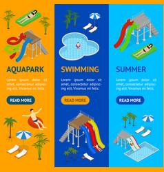 Aqua park banner vecrtical set isometric view vector