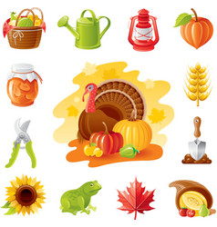 Autumn nature gardening icon set with farm and vector image