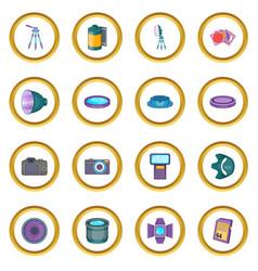 Photo studio icons circle vector