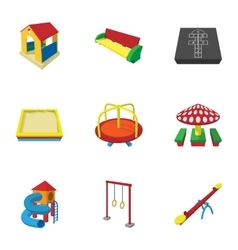 Types of games in yard icons set cartoon style vector image vector image