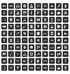 100 adventure icons set black vector