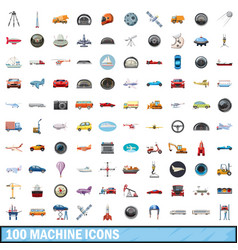 100 machine icons set cartoon style vector