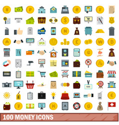 100 money icons set flat style vector image