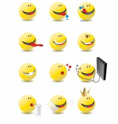 3d smiley set vector image