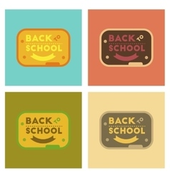 Assembly flat icons Back to school board vector