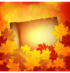 Autumn background with leaves and a paper vector image