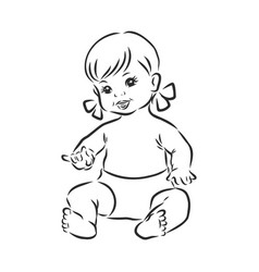 Baby doll sketch little girl toy vector