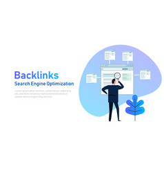 backlinks or link building seo concept vector image