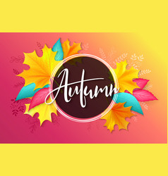 banner with hand lettering label - autumn vector image