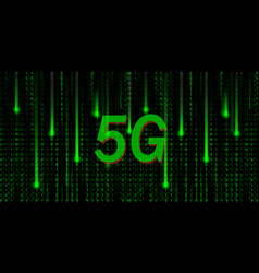 Big data binary code flowing through 5g mobile vector