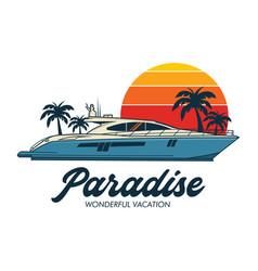 Boat logo in retro design vector
