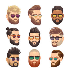 Cartoon bearded hipster man and male hairstyle vector