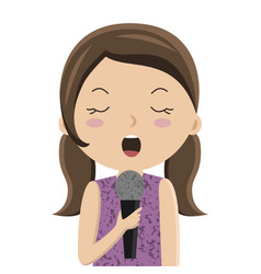 cartoon girl singing in microphone vector image