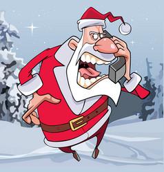 cartoon santa claus screaming in the phone vector image